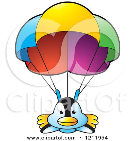 Clipart of a Happy Penguin Parachuting - Royalty Free Vector Illustration by Lal Perera