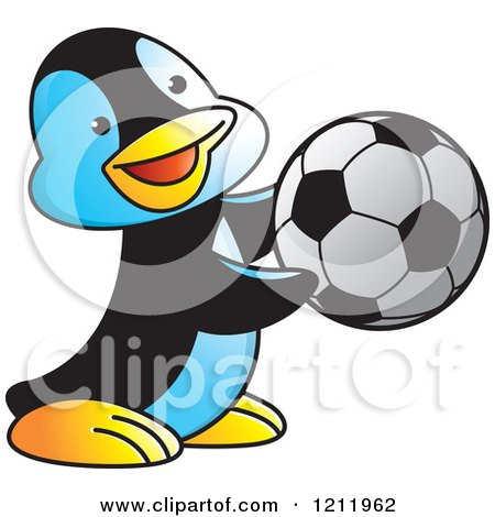 Clipart of a Happy Penguin Playing Soccer - Royalty Free Vector Illustration by Lal Perera
