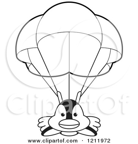 Clipart of a Black and White Happy Penguin Parachuting - Royalty Free Vector Illustration by Lal Perera