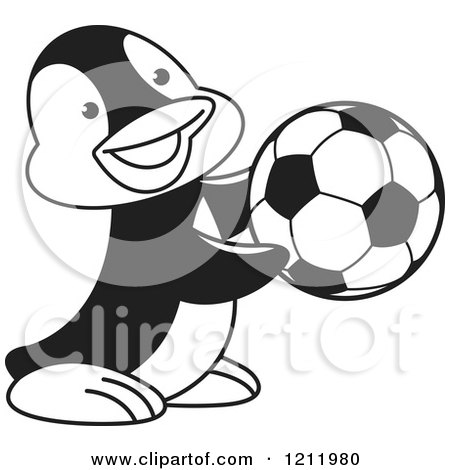 Clipart of a Black and White Happy Penguin Playing Soccer - Royalty Free Vector Illustration by Lal Perera
