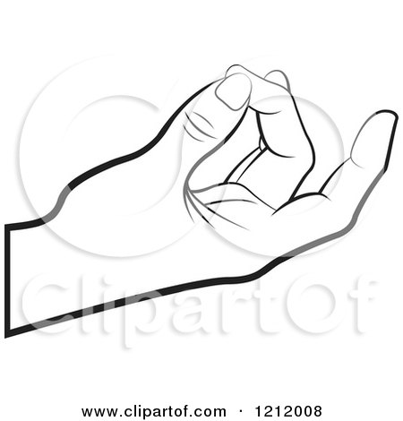 Clipart of a Black and White Meditating Hand - Royalty Free Vector Illustration by Lal Perera