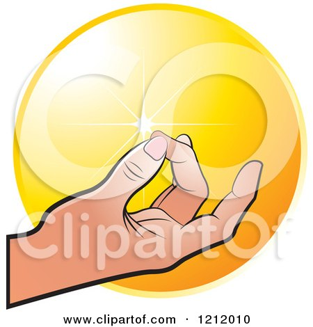 Clipart of a Meditating Hand over an Orange Circle - Royalty Free Vector Illustration by Lal Perera