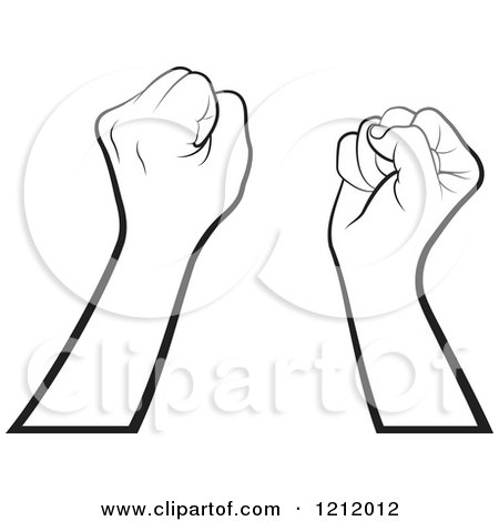 Clipart of Black and White Strong Fisted Hands Raised - Royalty Free Vector Illustration by Lal Perera