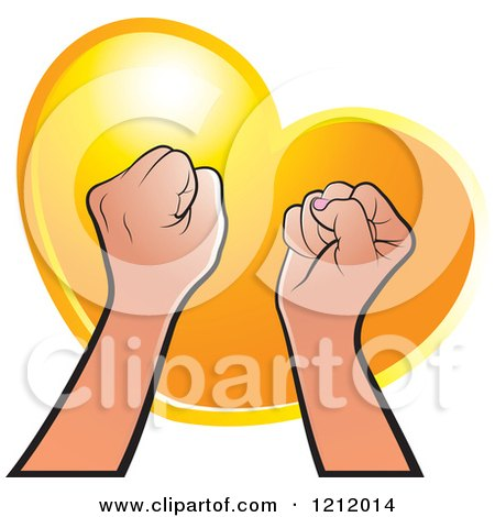Clipart of Strong Fisted Hands Raised over an Orange Heart - Royalty Free Vector Illustration by Lal Perera