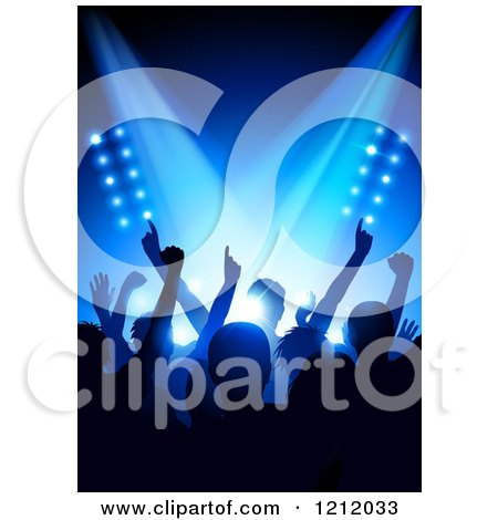 Clipart of a Silhouetted Crowd at a Concert, Under Blue Stage Lighting - Royalty Free Vector Illustration by TA Images