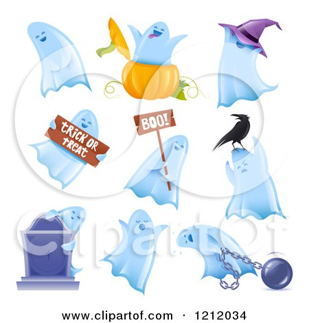 Clipart of Halloween Ghosts in Multiple Poses - Royalty Free Vector Illustration by TA Images