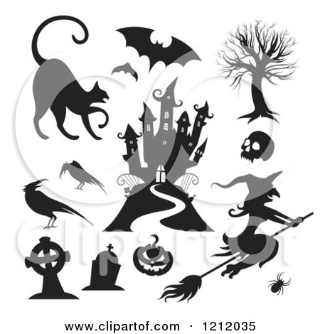Clipart of Black and White Halloween Characters and Items - Royalty Free Vector Illustration by TA Images