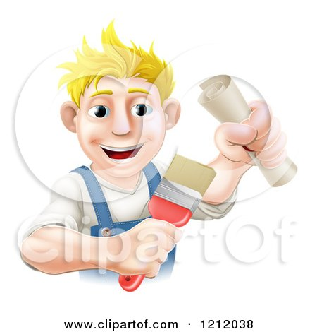 Cartoon of a Happy Blond Painter Holding a Certificate and Brush - Royalty Free Vector Clipart by AtStockIllustration