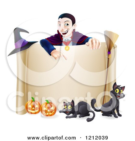 Cartoon of a Grinning Vampire Pointing down to a Halloween Scroll Sign with Black Cats Broomstick Witch Hat and Pumpkins - Royalty Free Vector Clipart by AtStockIllustration