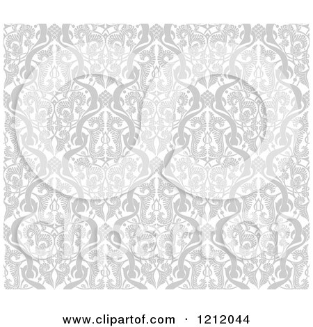 Clipart of a Gray Seamless Middle Eastern Arabic Motif Background Pattern - Royalty Free Vector Illustration by AtStockIllustration