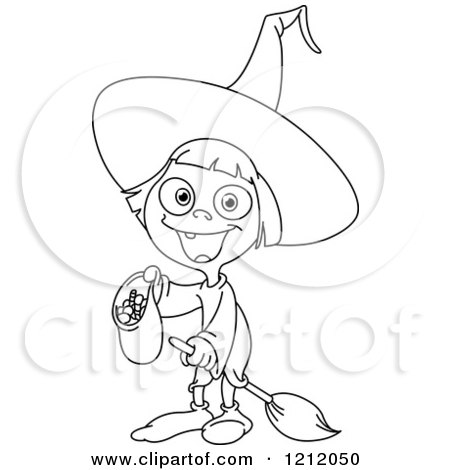 Cartoon of an Outlined Cute Girl Witch Trick or Treating on Halloween - Royalty Free Vector Clipart by yayayoyo