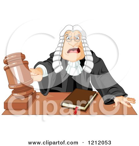 Cartoon of an Angered Judge in a Wig, Slamming down His Gavel - Royalty Free Vector Clipart by Pushkin