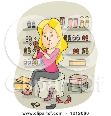 Cartoon of a Blond Caucasian Woman Trying on Shoes in a Boutique - Royalty Free Vector Clipart by BNP Design Studio