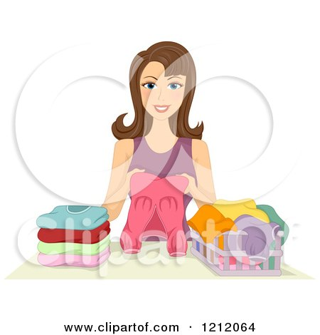 Clipart Of A Happy Blond Girl Folding Laundry Royalty