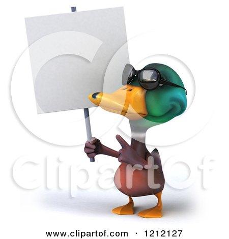 Clipart Of A 3d Mallard Drake Duck Walking With An
