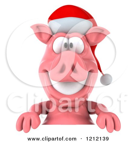 Clipart of a 3d Christmas Pig Mascot Wearing a Santa Hat over a Sign - Royalty Free Illustration by Julos