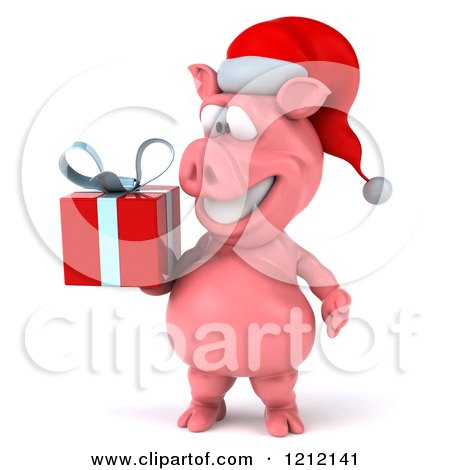 Clipart of a 3d Christmas Pig Mascot Wearing a Santa Hat and Carrying a Present - Royalty Free Illustration by Julos