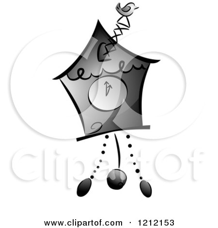 Cartoon of a Grayscale Whimsical Cuckoo Clock - Royalty Free Vector Clipart by BNP Design Studio