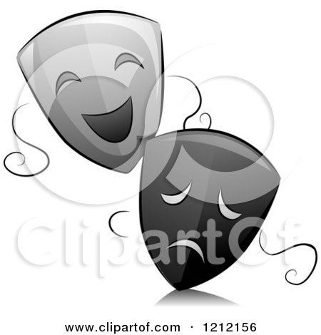 Cartoon of Grayscale Whimsical Drama Theater Masks and Reflection - Royalty Free Vector Clipart by BNP Design Studio