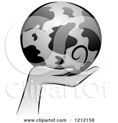 Cartoon of a Grayscale Whimsical Hand Holding Earth - Royalty Free Vector Clipart by BNP Design Studio