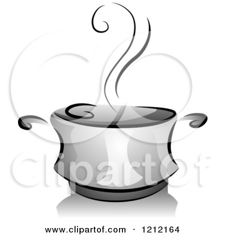 Cartoon of a Grayscale Steaming Pot of Soup - Royalty Free Vector Clipart by BNP Design Studio