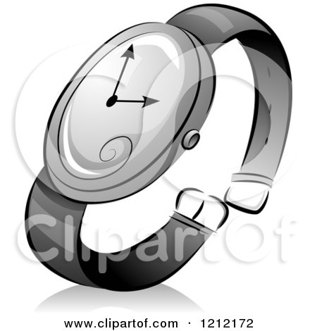 Cartoon of a Grayscale Whimsical Wrist Watch and Shadow - Royalty Free Vector Clipart by BNP Design Studio