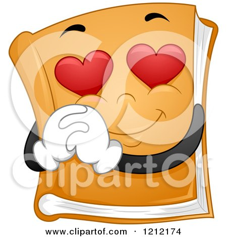 Cartoon of a Book Mascot with Heart Eyes - Royalty Free Vector Clipart by BNP Design Studio