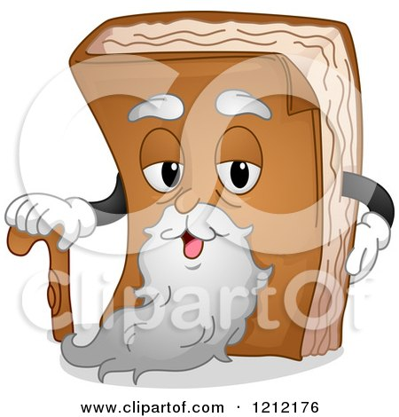 Cartoon of an Old Book Mascot with a Beard and Cane - Royalty Free Vector Clipart by BNP Design Studio