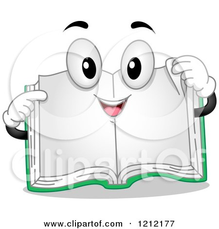 Cartoon of a Happy Open Book Pointing and Holding a Page Corner - Royalty Free Vector Clipart by BNP Design Studio