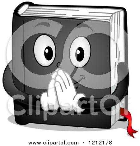 Cartoon of a Black Prayer Book Holding His Hands Together - Royalty Free Vector Clipart by BNP Design Studio