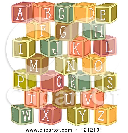 Cartoon of Stacked Alphabetized Letter Blocks - Royalty Free Vector Clipart by BNP Design Studio
