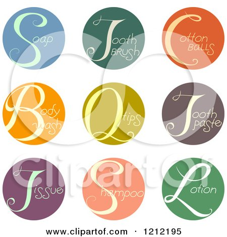 Cartoon of Colorful Round Beauty Product Icons - Royalty Free Vector Clipart by BNP Design Studio