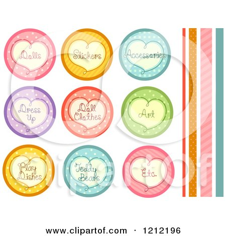 Cartoon of Colorful Polka Dot Icons with Hearts and Organizational Toy Labels - Royalty Free Vector Clipart by BNP Design Studio