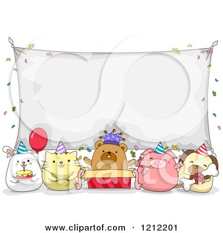 Cartoon of Birthday Party Animals Under a Banner Sign - Royalty Free Vector Clipart by BNP Design Studio