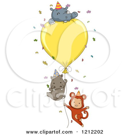 Cartoon of a Party Monkey Hippo and Rhino with a Giant Balloon and Confetti - Royalty Free Vector Clipart by BNP Design Studio