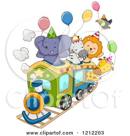 Cartoon of a Party Train with an Elephant Zebra Lion Giraffe and Toucan and Balloons - Royalty Free Vector Clipart by BNP Design Studio
