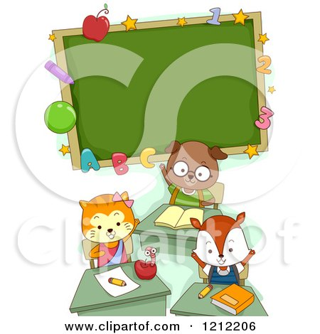 Cartoon of a Cute Student Cat Dog and Fox Under a Classroom Chalk Board - Royalty Free Vector Clipart by BNP Design Studio