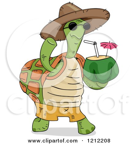 Cartoon of a Tortoise Wearing a Hat, Waving and Carrying a Coconut Drink - Royalty Free Vector Clipart by BNP Design Studio