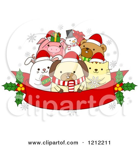 Cartoon of a Red Christmas Banner with Holly and Festive Animals - Royalty Free Vector Clipart by BNP Design Studio