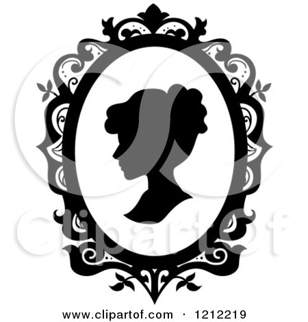 Cartoon of a Black Silhouetted Cameo of a Lady - Royalty Free Vector Clipart by BNP Design Studio