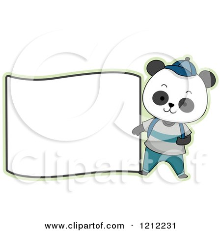 Cartoon of a Male Student Panda with a Blank Label - Royalty Free Vector Clipart by BNP Design Studio