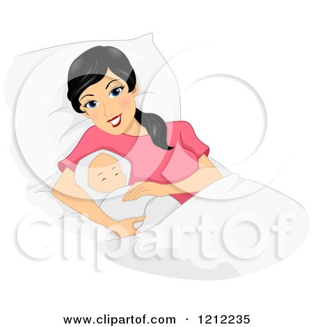 Cartoon of a Happy Black Haired New Mom Laying with Her Newborn Baby - Royalty Free Vector Clipart by BNP Design Studio