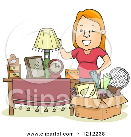 Cartoon of a Happy Woman Standing by a Box Full of Items - Royalty Free Vector Clipart by BNP Design Studio