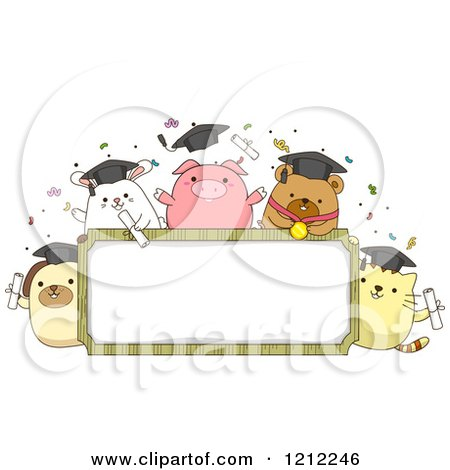 Cartoon of a Frame with Graduation Animals and Confetti - Royalty Free Vector Clipart by BNP Design Studio