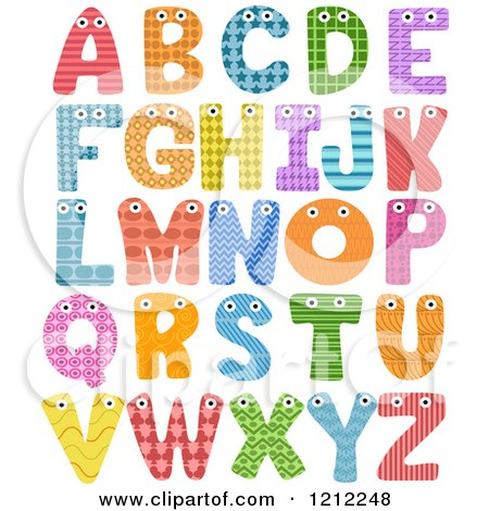 Cartoon of Colorful Patterned Capital Letters with Eyes - Royalty Free Vector Clipart by BNP Design Studio