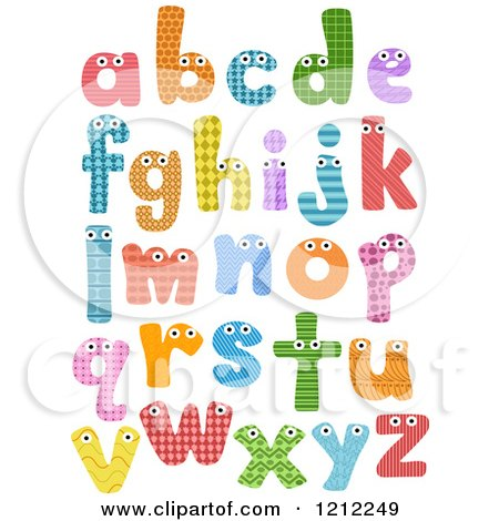 Cartoon of Colorful Patterned Lowercase Letters with Eyes - Royalty Free Vector Clipart by BNP Design Studio