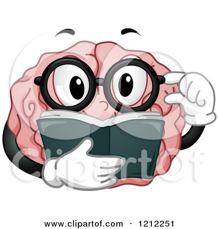 Cartoon of a Brain Mascot Touching His Glasses and Reading a Book - Royalty Free Vector Clipart by BNP Design Studio
