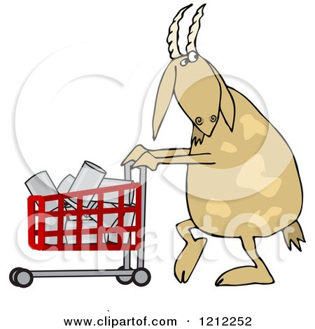 Cartoon of a Goat Pushing a Shopping Cart Full of Cans - Royalty Free Vector Clipart by djart