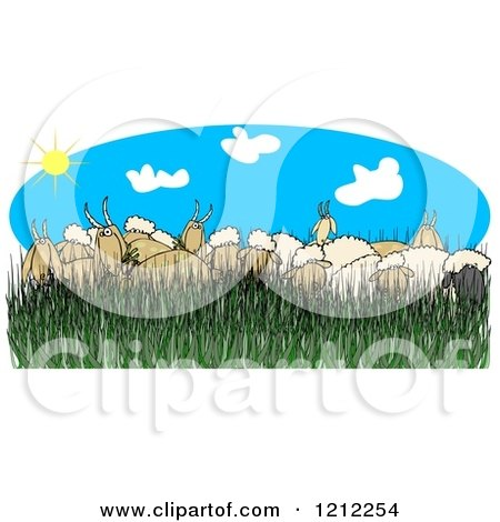 Cartoon of a Flock of Sheep and Goats in Tall Grass on a Sunny Day - Royalty Free Clipart by djart