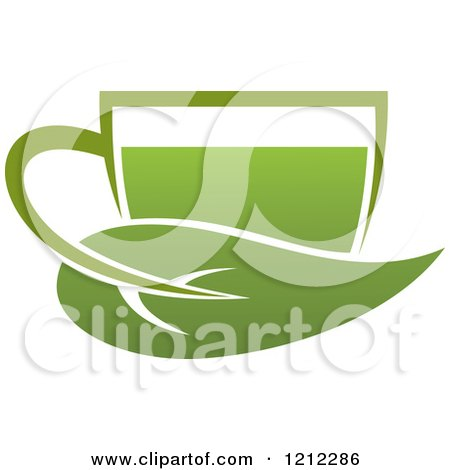 Clipart of a Cup of Green Tea or Coffee and a Leaf 9 - Royalty Free Vector Illustration by Vector Tradition SM